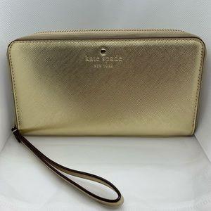 Gold Kate Spade wallet/wristlet